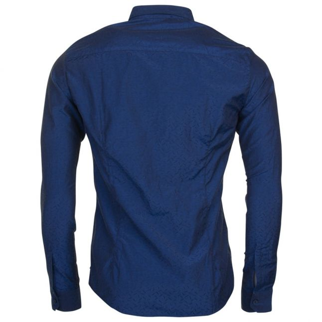 Mens Blue Jacquard Regular Fit L/s Shirt