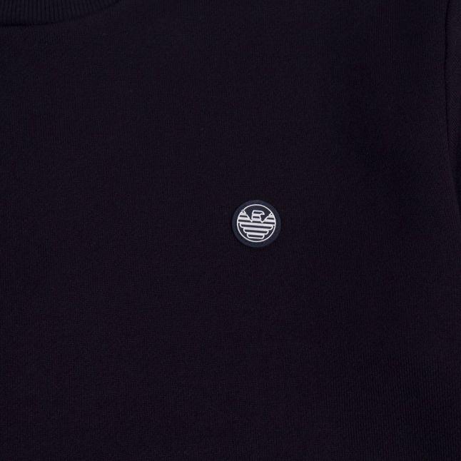 Boys Navy Small Rubber Logo Sweat Top