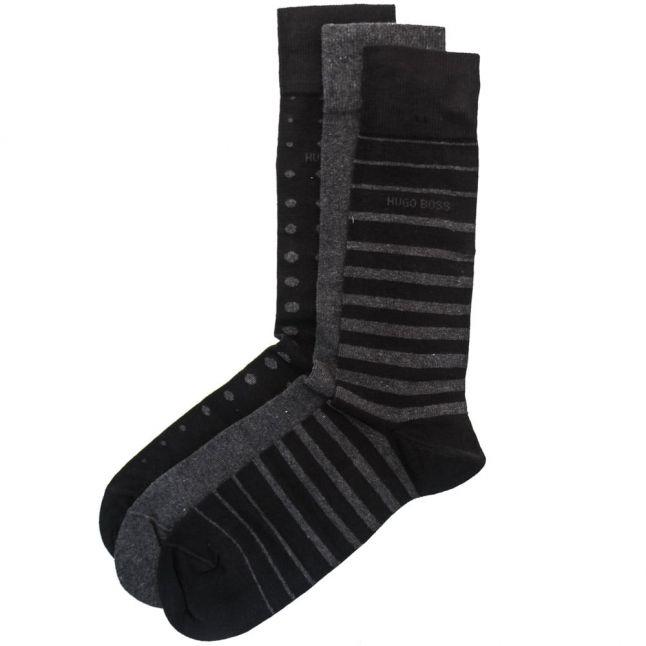 Mens Black 3 Pairs Socks Design Boxed Gift Set