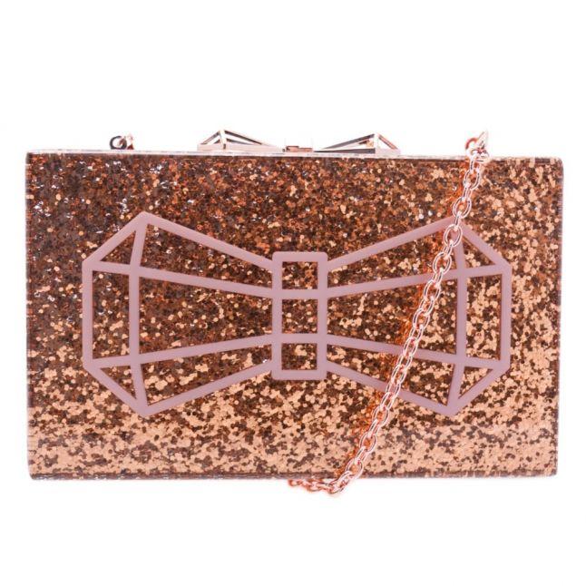 Womens Rose Gold Bowwe Bow Glitter Resin Clutch Bag