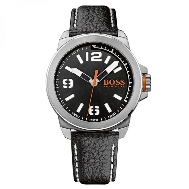 Watches Mens Black Dial New York Leather Strap Watch