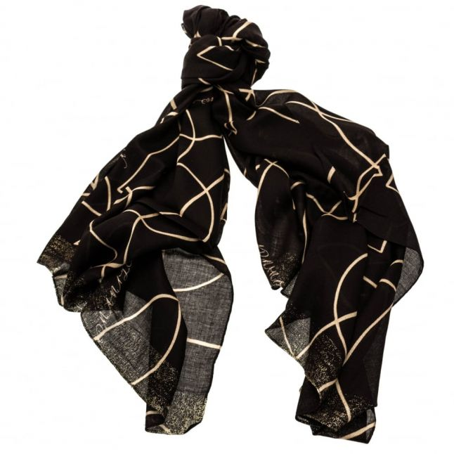 Womens Black Outline Heart Pattern Scarf