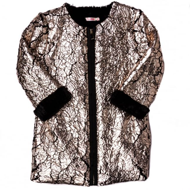 Girls Metallic Coated Faux Fur Coat
