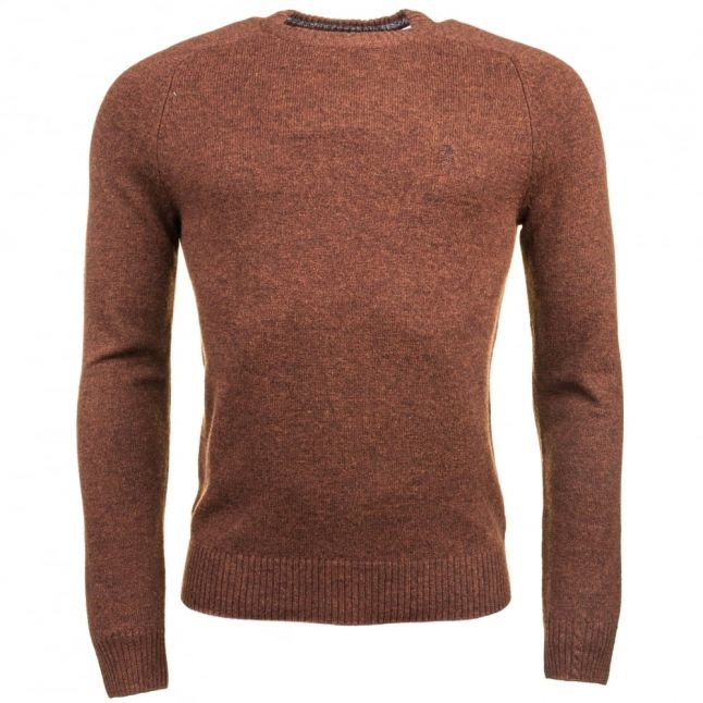 Mens Cappuccino Lambswool Crew Knitted Jumper