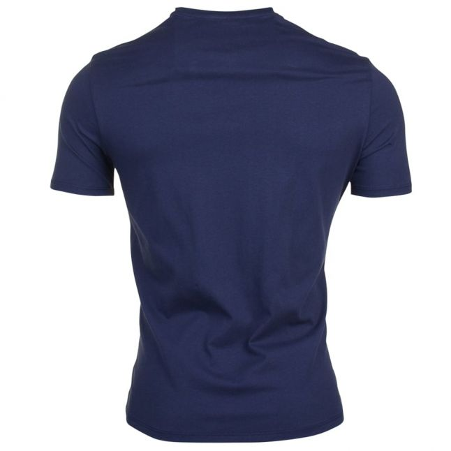 Mens Navy Stripe Logo S/s Tee Shirt