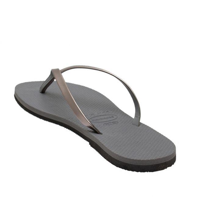 Womens Steel Grey You Metallic Flip Flops