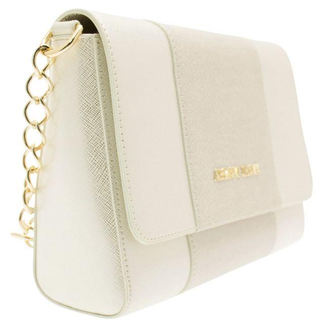 Womens Silver Platinum Crosshatch Shoulder Bag