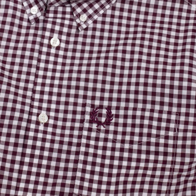 Mens Mahogany Gingham S/s Shirt