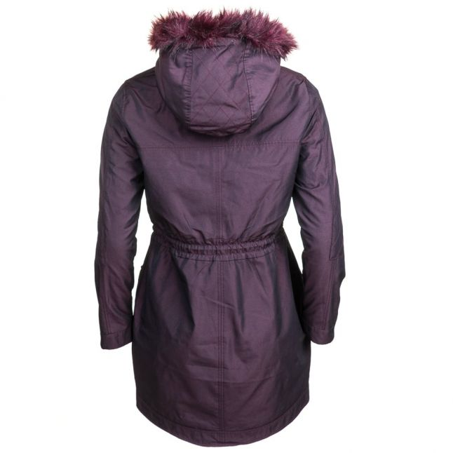 Womens Oxblood Edmona Quilted Panel Parka