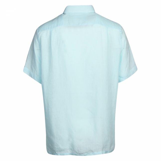Mens Turquoise Linen Regular Fit S/s Shirt