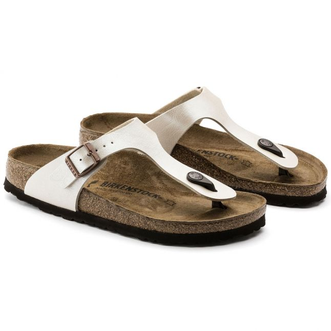 Womens Graceful Pearl White Gizeh Birko-Flor Toe-Post Sandals
