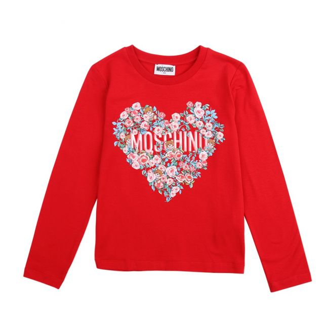 Girls Flame Red Floral Heart L/s T Shirt