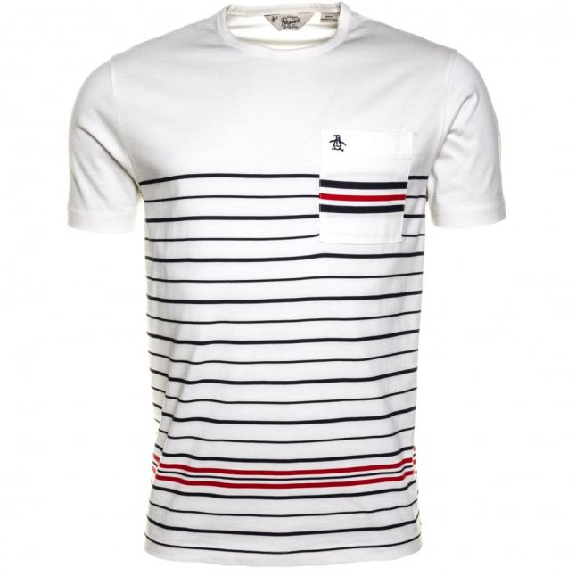 Mens White Light Offset Stripe Pocket S/s Tee Shirt