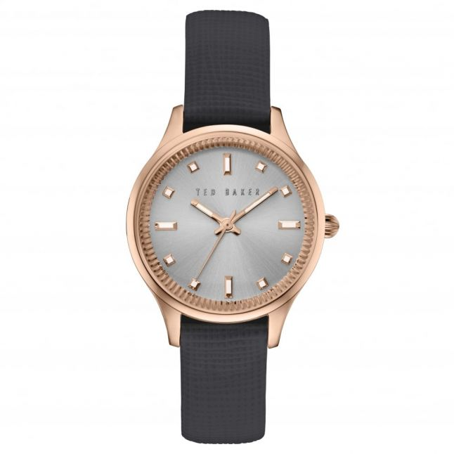 Womens Black, Rose Gold & Silver Saffiano Leather Strap Watch