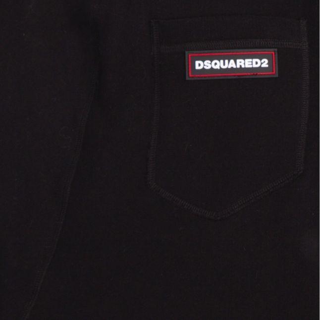 Mens Black Branded Tab Sweat Pants