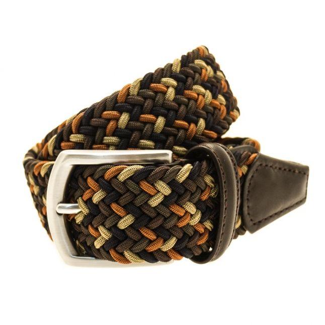 Mens Green Multi Woven Belt