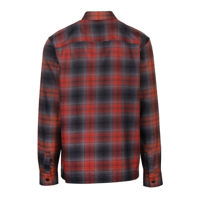 Mens Dark Red Lecture Check Flannel Shacket