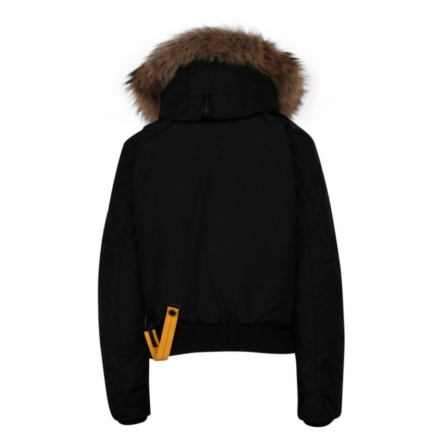 Womens Black Gobi Fur Hooded Bomber Jacket