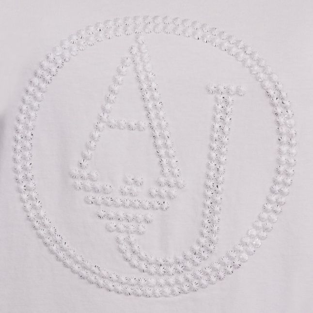 Womens White Sequin Logo L/s T Shirt