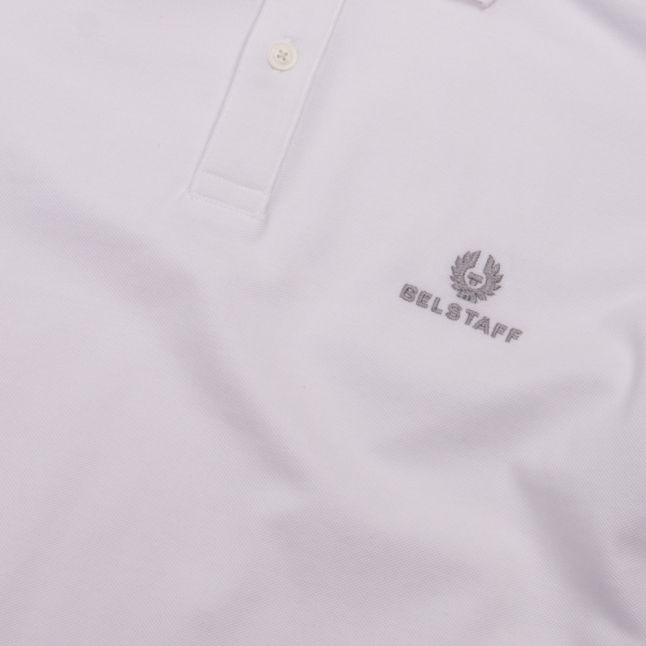 Mens White Branded S/s Polo Shirt