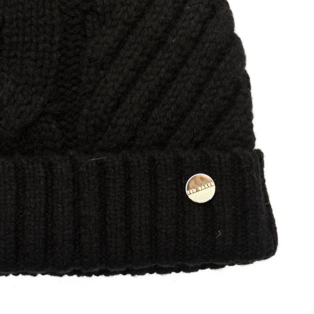 Womens Black Lisabet Cable Knitted Pom Pom Hat