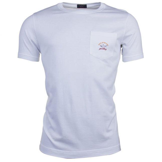 Mens White Pocket Logo Shark Fit S/s T Shirt