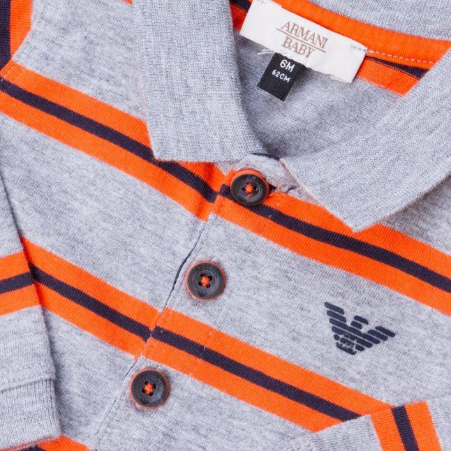 Baby Grey Melange Striped L/s Polo Shirt