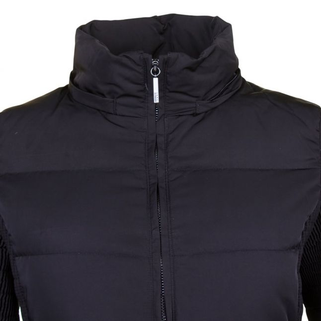 Womens Black Fur Hooded Down Jacket