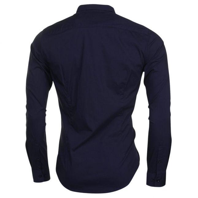 Mens Blue Custom Fit L/s Shirt