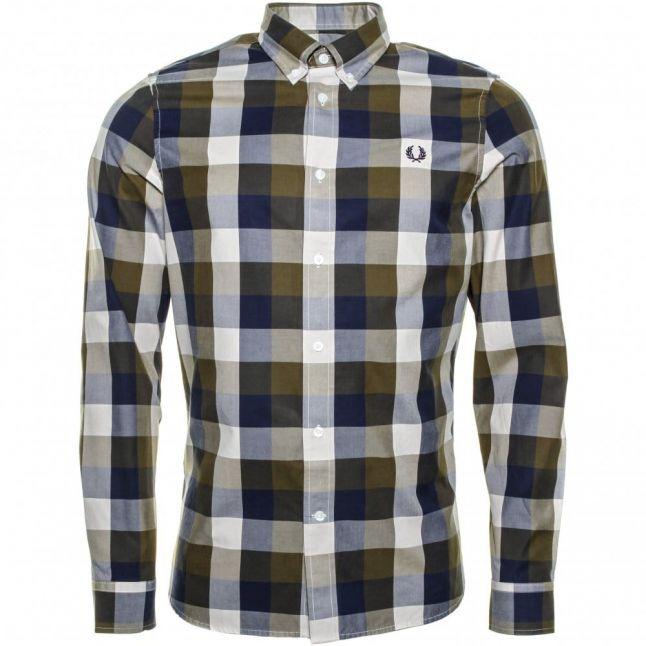 Mens Dark Olive Winter Twill L/s Shirt