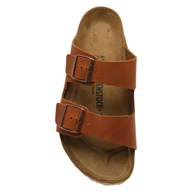 Mens Antique Cognac Arizona Smooth Leather Sandals