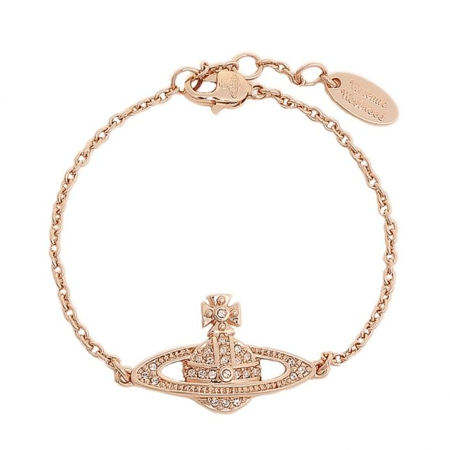 Womens Pink Gold/Crystal Mini Bas Relief Bracelet