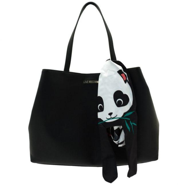 Womens Black Panda Scarf Shopper Bag