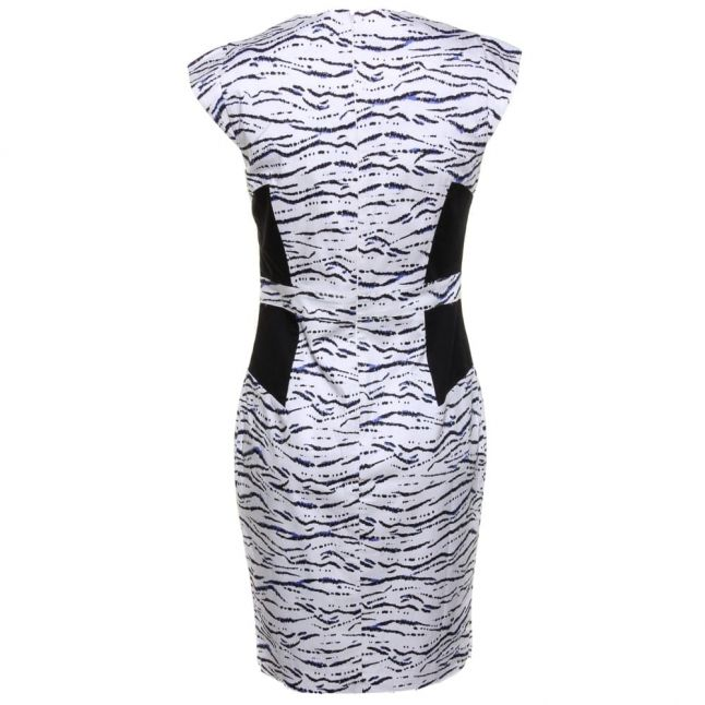 Womens Summer White Multi Tapir Wave Cap Sleeve Dress