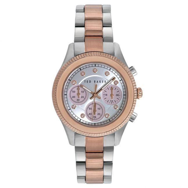Womens Silver Dial Silver Chrono Bracelet Strap Watch