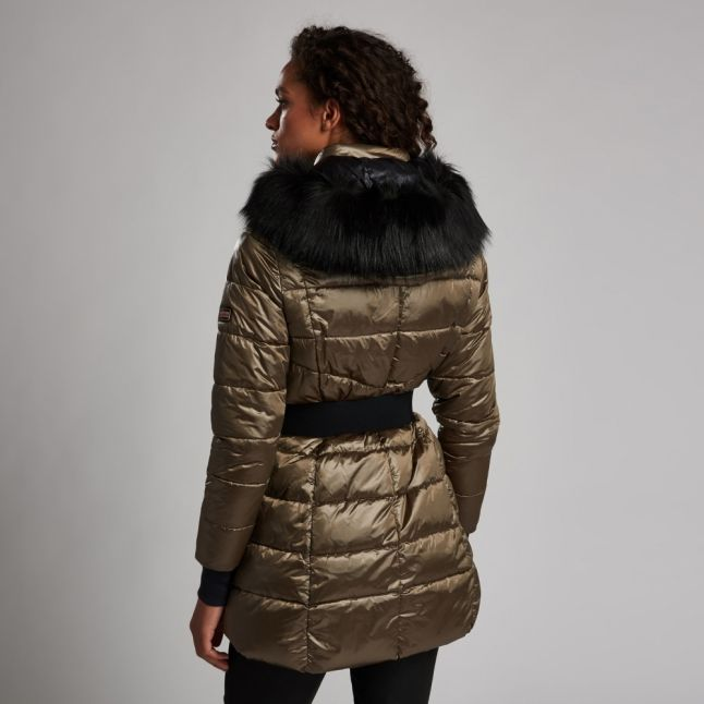 Womens Bronze Premium Arena Hooded Quilted Coat