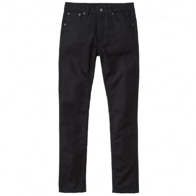 Mens Dry Black Indigo Wash Lean Dean Slim Fit Jeans
