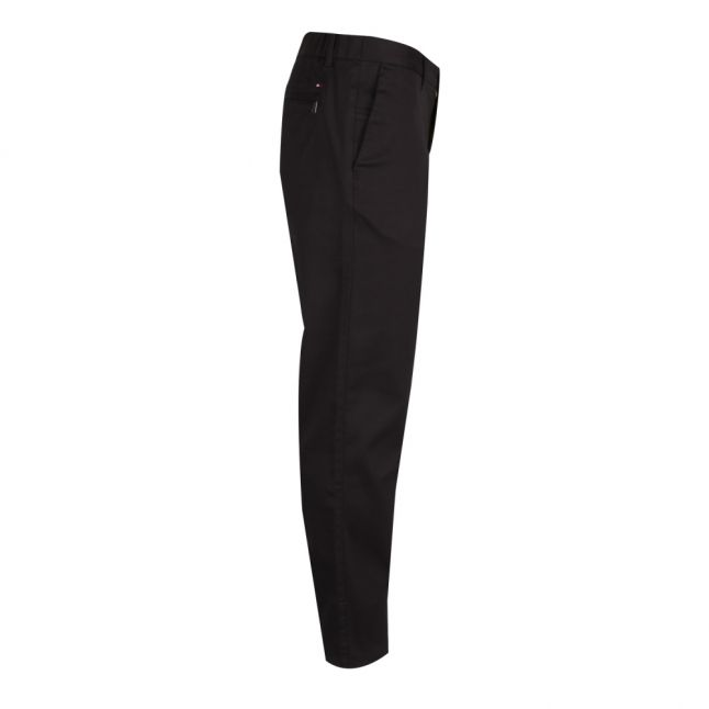 Mens Jet Black Tapered Flex Trousers