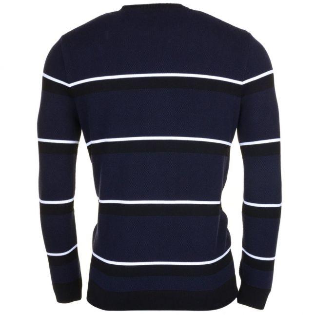 Mens Black & Navy Made In France Striped Jumper