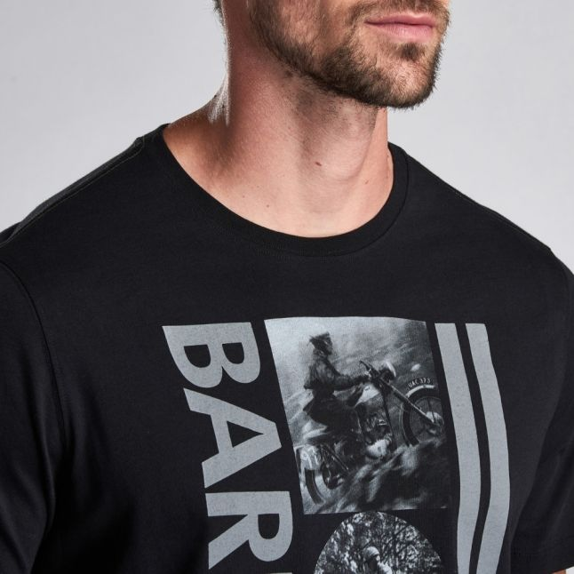 Mens Black Mono Vertical Logo S/s T Shirt