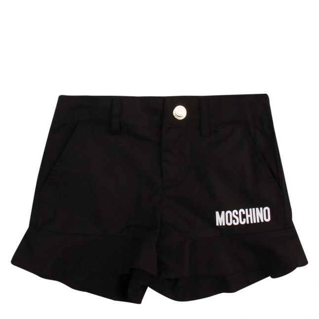 Girls Black Logo Ruffle Trim Shorts