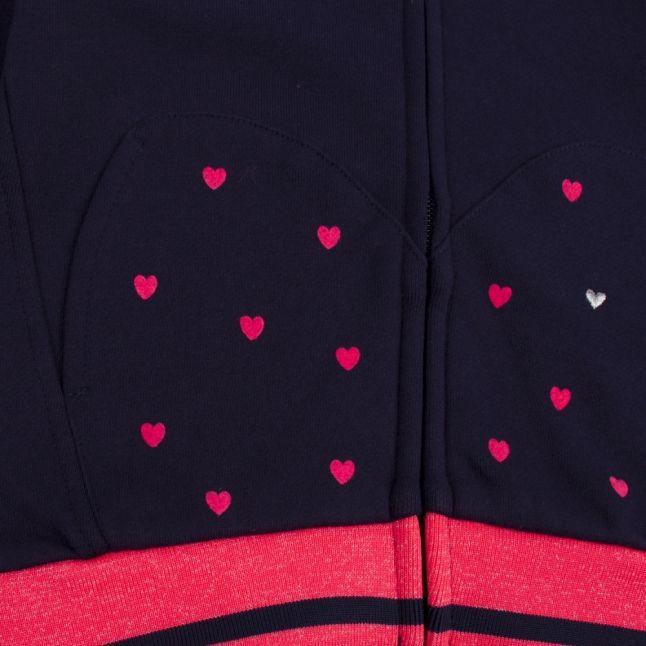 Girls Navy Mini Heart Hooded Tracksuit