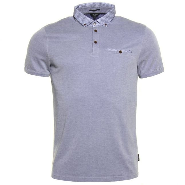 Mens Blue Veranda Oxford S/s Polo Shirt