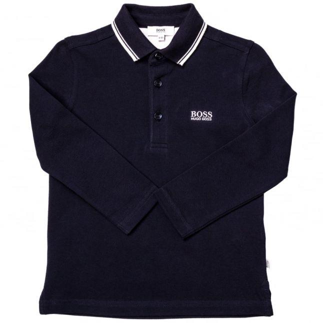Boys Navy Small Logo Tipped L/s Polo Shirt