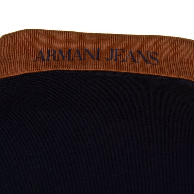 Amarni Jeans Mens Blue Contrast Collar S/s Polo Shirt