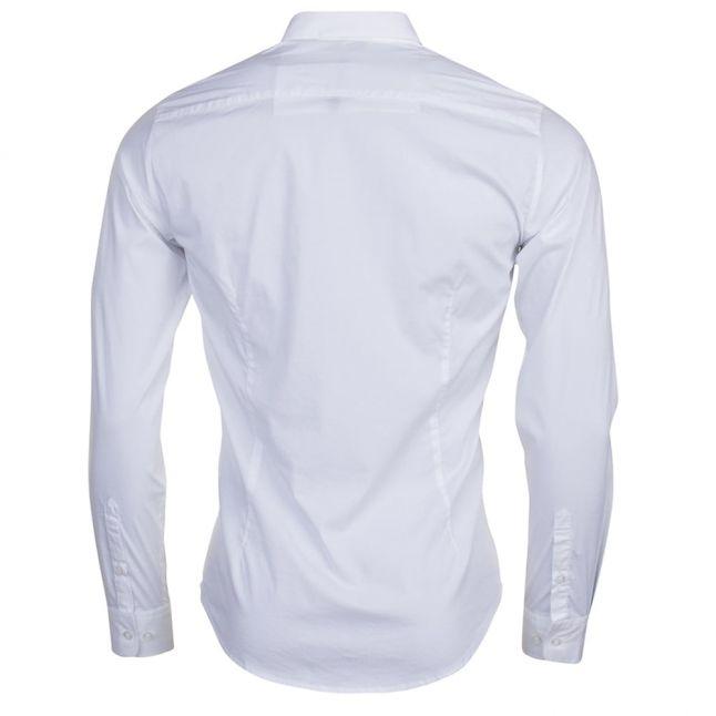 Mens White Custom Fit L/s Shirt
