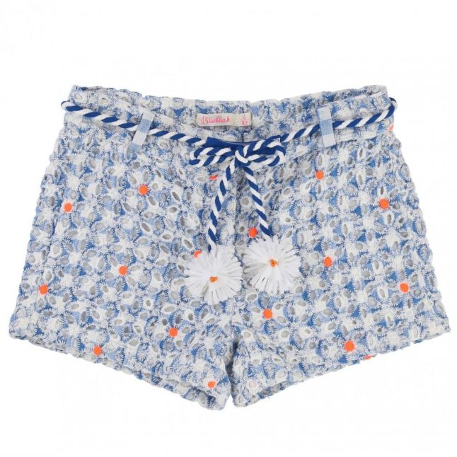 Girls Blue Crochet Flower Shorts