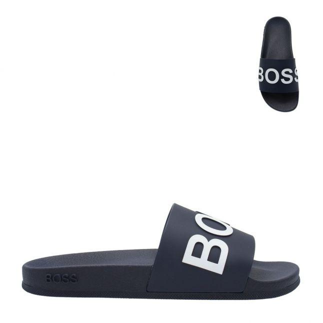 Mens Dark Blue/White Logo Bay Slides