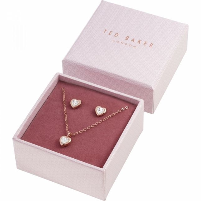 Womens Rose Gold/Crystal Hadeya Heart Necklace & Earrings Gift Set