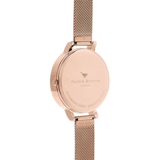 Womens Rose Gold Semi Precious Mesh Watch